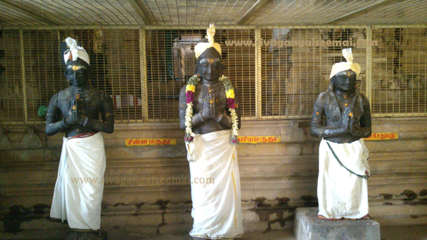 Maruthu Brothers Statue located inside the Kalayarkoil Temple